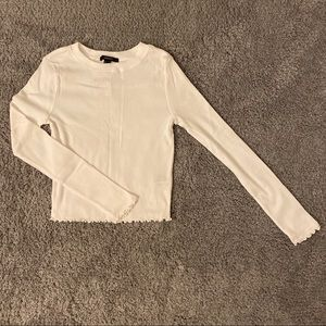Forever 21 White Knit Lettuce Cut Long Sleeve